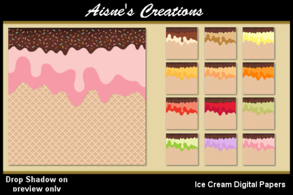 Download Free Ice Cream Digital Papers Graphic By Aisne Creative Fabrica for Cricut Explore, Silhouette and other cutting machines.