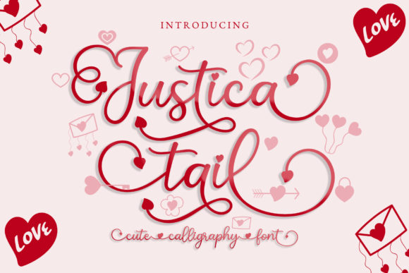 Print on Demand: Justica Tail Script & Handwritten Font By airotype - Image 1