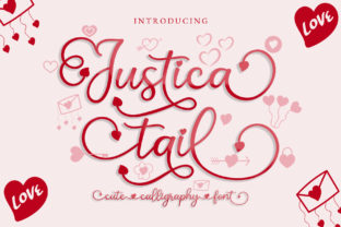 Print on Demand: Justica Tail Script & Handwritten Font By airotype