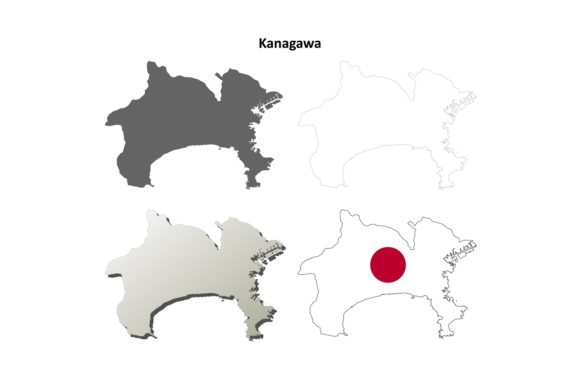 Download Free Kanagawa Outline Map Set Graphic By Davidzydd Creative Fabrica for Cricut Explore, Silhouette and other cutting machines.