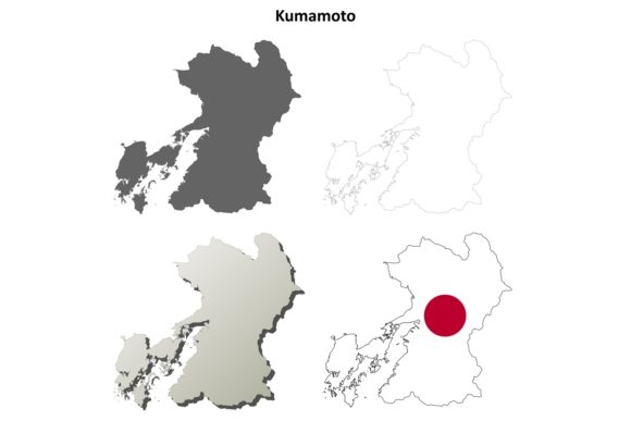 Download Free Kumamoto Outline Map Set Graphic By Davidzydd Creative Fabrica for Cricut Explore, Silhouette and other cutting machines.