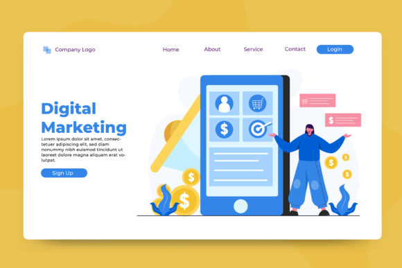 Landing Page Digital Marketing Graphic Landing Page Templates By OKEVECTOR