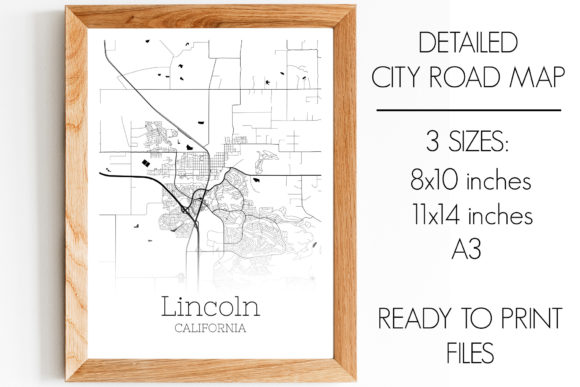 Download Free Lincoln California City Map Graphic By Svgexpress Creative Fabrica for Cricut Explore, Silhouette and other cutting machines.