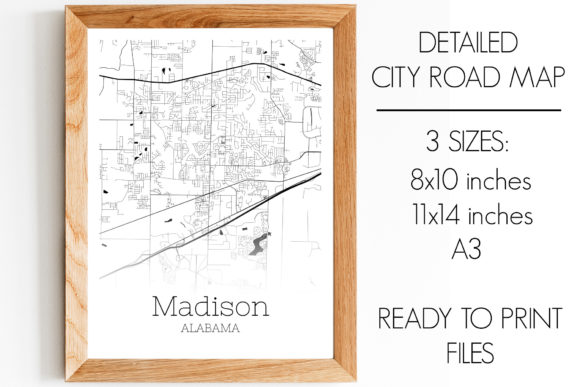 Download Free Madison Alabama City Map Graphic By Svgexpress Creative Fabrica for Cricut Explore, Silhouette and other cutting machines.