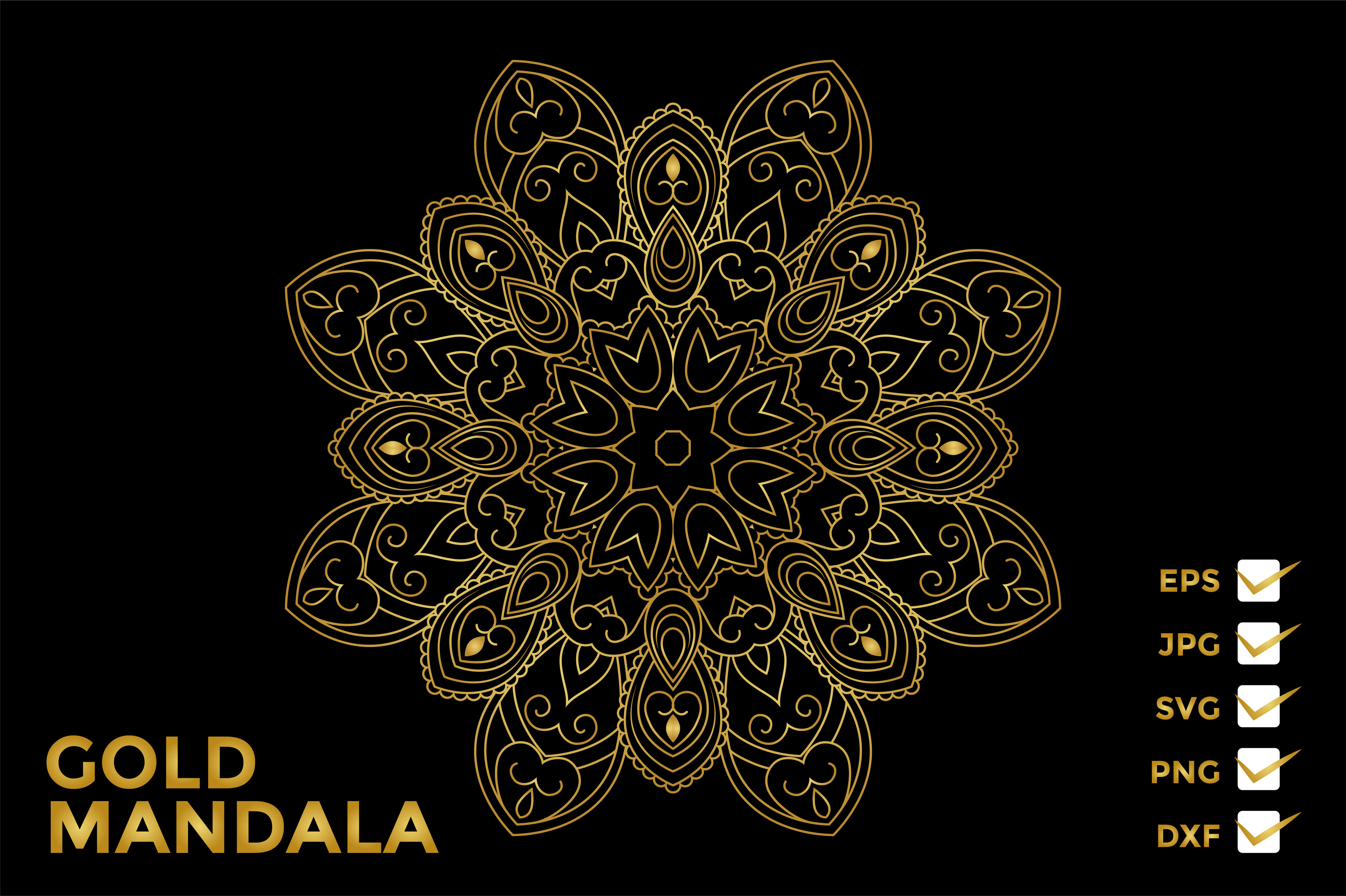 Download Free Mandala Gold Vector Ornament Graphic By Studiopayon Creative for Cricut Explore, Silhouette and other cutting machines.