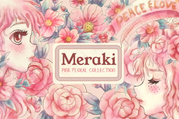 Print on Demand: Meraki Pink Floral Collection Graphic Illustrations By JM_Graphics