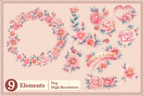 Print on Demand: Meraki Pink Floral Collection Graphic Illustrations By JM_Graphics - Image 6