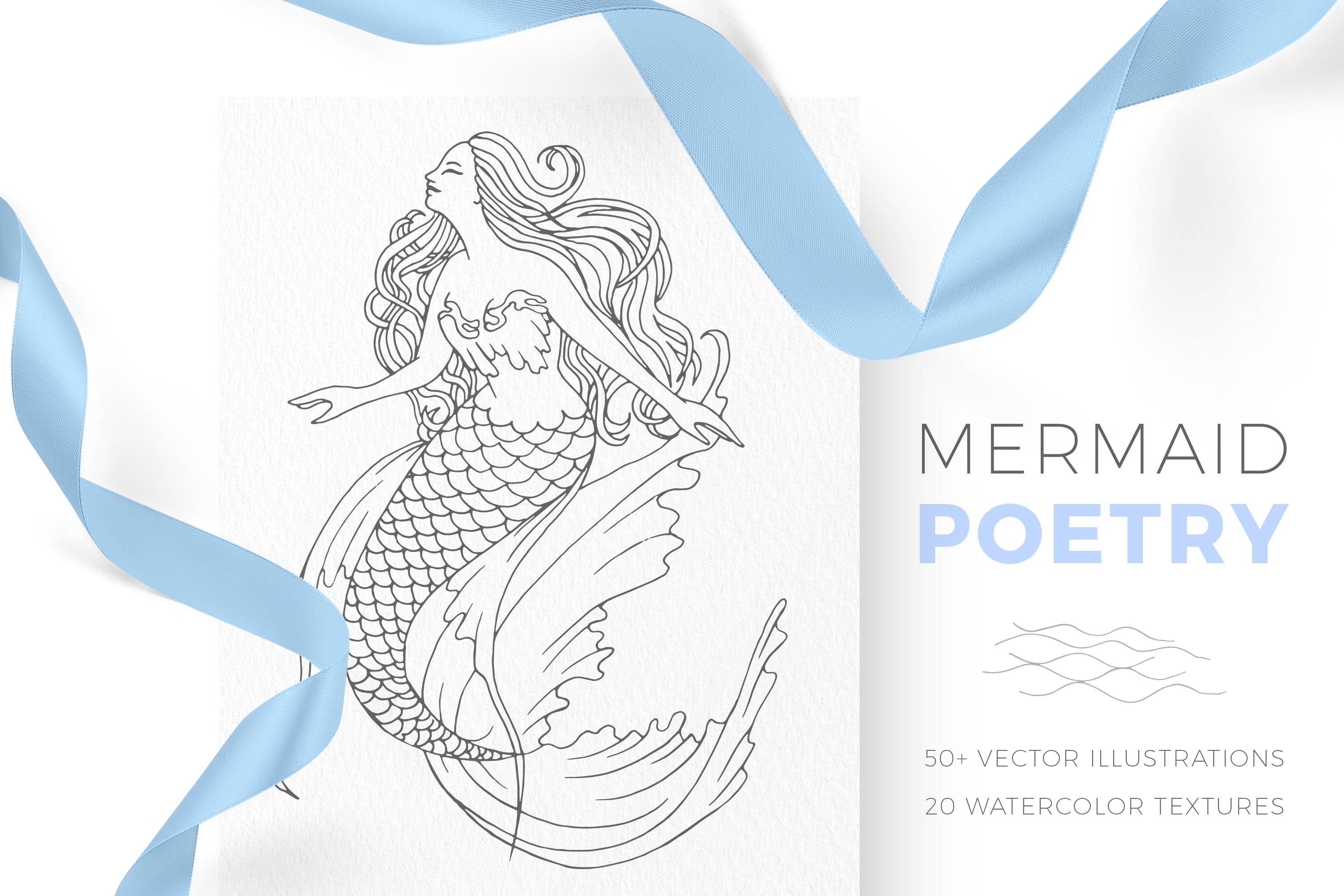 Mermaid Poetry Lineart Watercolor Graphic By Draw Wind Zen