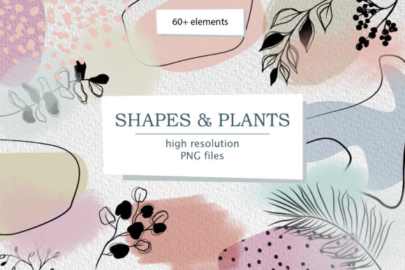 Modern Smooth Abstract Shapes & Plants Graphic Illustrations By lena-dorosh