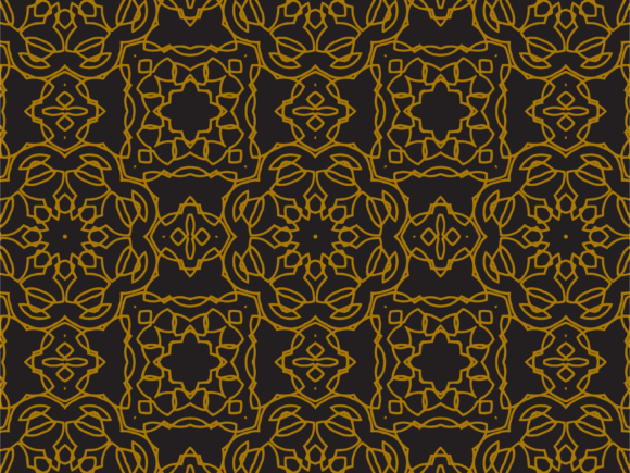 Download Free Pattern Gold Floral And Square Ornaments Graphic By for Cricut Explore, Silhouette and other cutting machines.