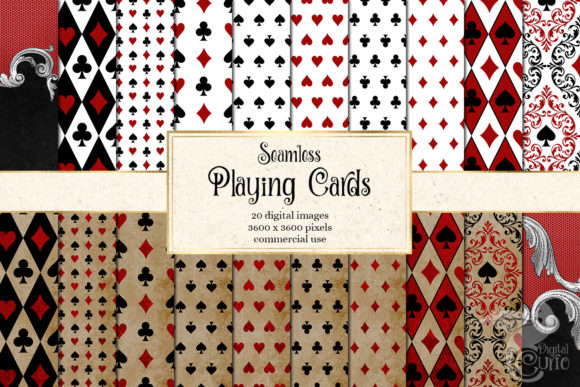 Print on Demand: Playing Cards Digital Paper Graphic Patterns By Digital Curio - Image 1