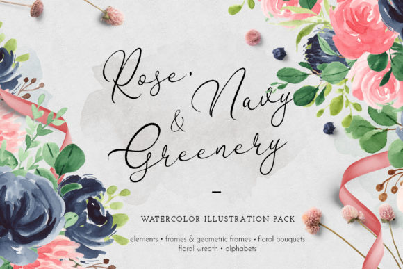 Print on Demand: Rose, Navy & Greenery Illustration Pack Graphic Illustrations By Blue Robin Design Shop