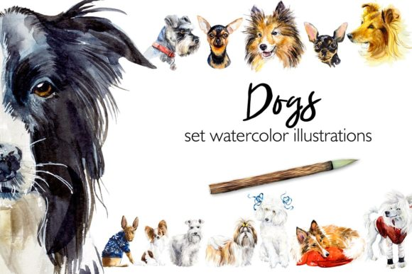 Set Watercolor Dogs Graphic Illustrations By Мария Кутузова
