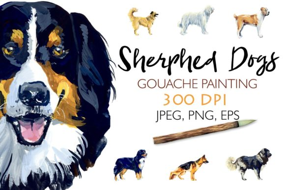 Sherphed Dogs. Gouache Cliparts Graphic Illustrations By Мария Кутузова