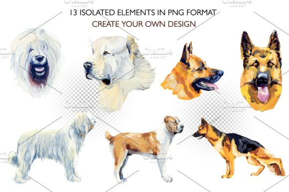 Sherphed Dogs Cliparts Graphic Illustrations By Мария Кутузова - Image 3