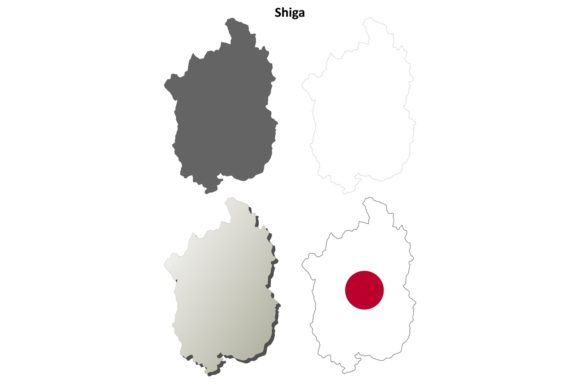 Download Free Shiga Outline Map Set Graphic By Davidzydd Creative Fabrica for Cricut Explore, Silhouette and other cutting machines.