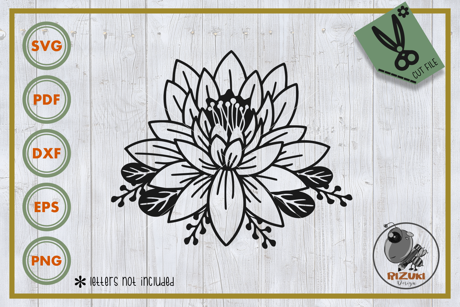 Download Free Single Lotus Flower Line Art Graphic By Rizuki Store Creative for Cricut Explore, Silhouette and other cutting machines.