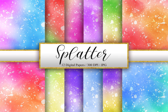 Splatter Ombre Watercolor Background Graphic Backgrounds By PinkPearly