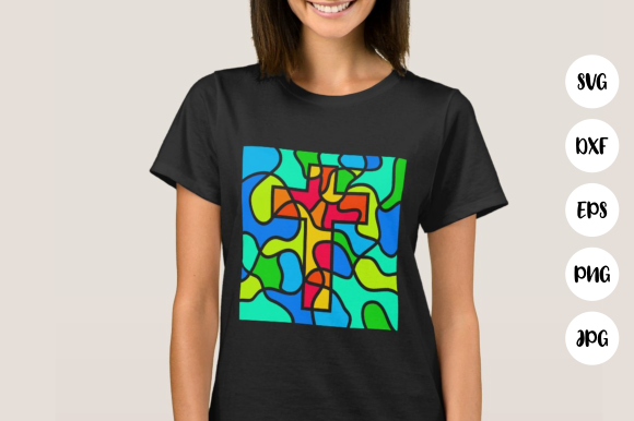 Download Free Stained Glass Cross Cherub Cut Files Graphic By Prawny for Cricut Explore, Silhouette and other cutting machines.