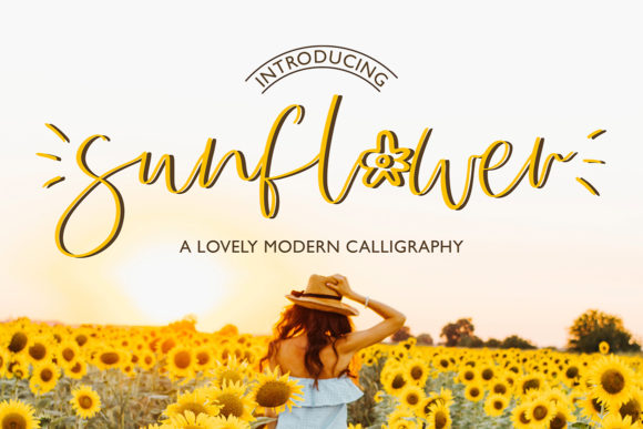 Download Free Sunflower Font By Masha Artifex Creative Fabrica for Cricut Explore, Silhouette and other cutting machines.