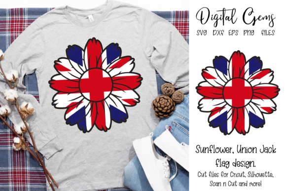 Download Free Sunflower Union Jack Flag Design Graphic By Digital Gems for Cricut Explore, Silhouette and other cutting machines.