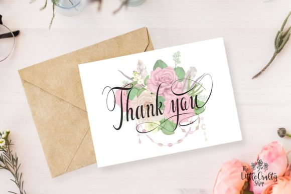 Download Free Thank You Greeting Card Graphic By The Little Crafty Shop for Cricut Explore, Silhouette and other cutting machines.