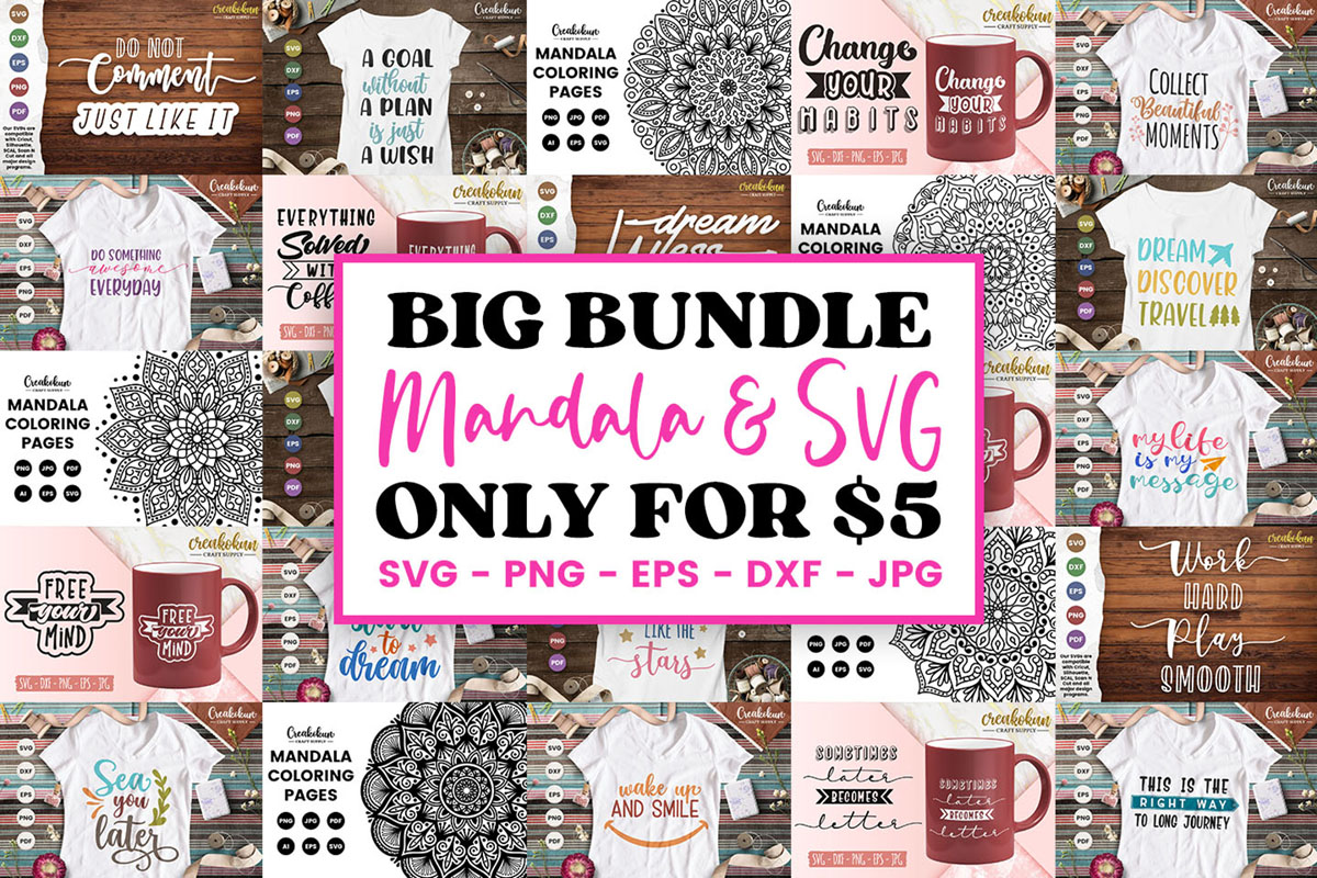 Download Free The Big Craft And Mandala Bundle Bundle Creative Fabrica for Cricut Explore, Silhouette and other cutting machines.