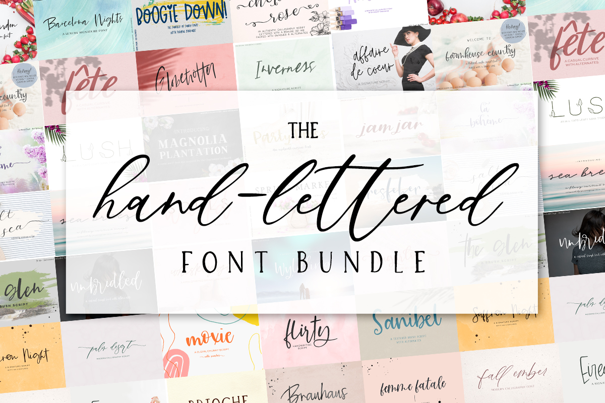 Download Free The Hand Lettered Font Bundle Bundle Creative Fabrica for Cricut Explore, Silhouette and other cutting machines.