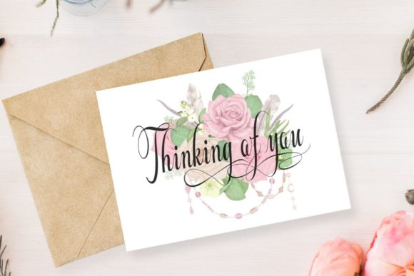 Thinking Of You Greeting Card Graphic By The Little Crafty Shop