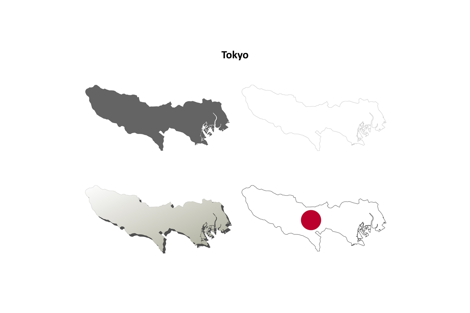 Download Free Tokyo Outline Map Set Graphic By Davidzydd Creative Fabrica for Cricut Explore, Silhouette and other cutting machines.