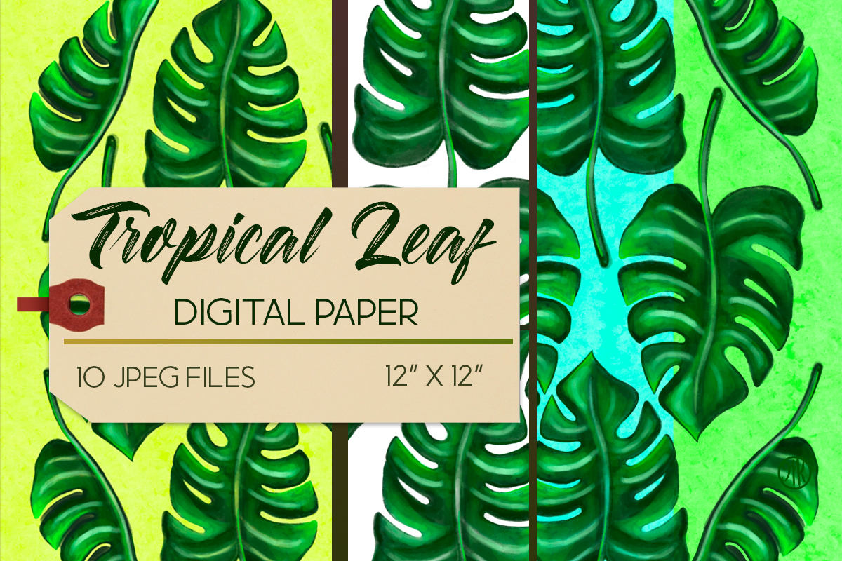 Download Free Tropical Leaf Backgrounds Tropical Graphic By Marikekortingart for Cricut Explore, Silhouette and other cutting machines.