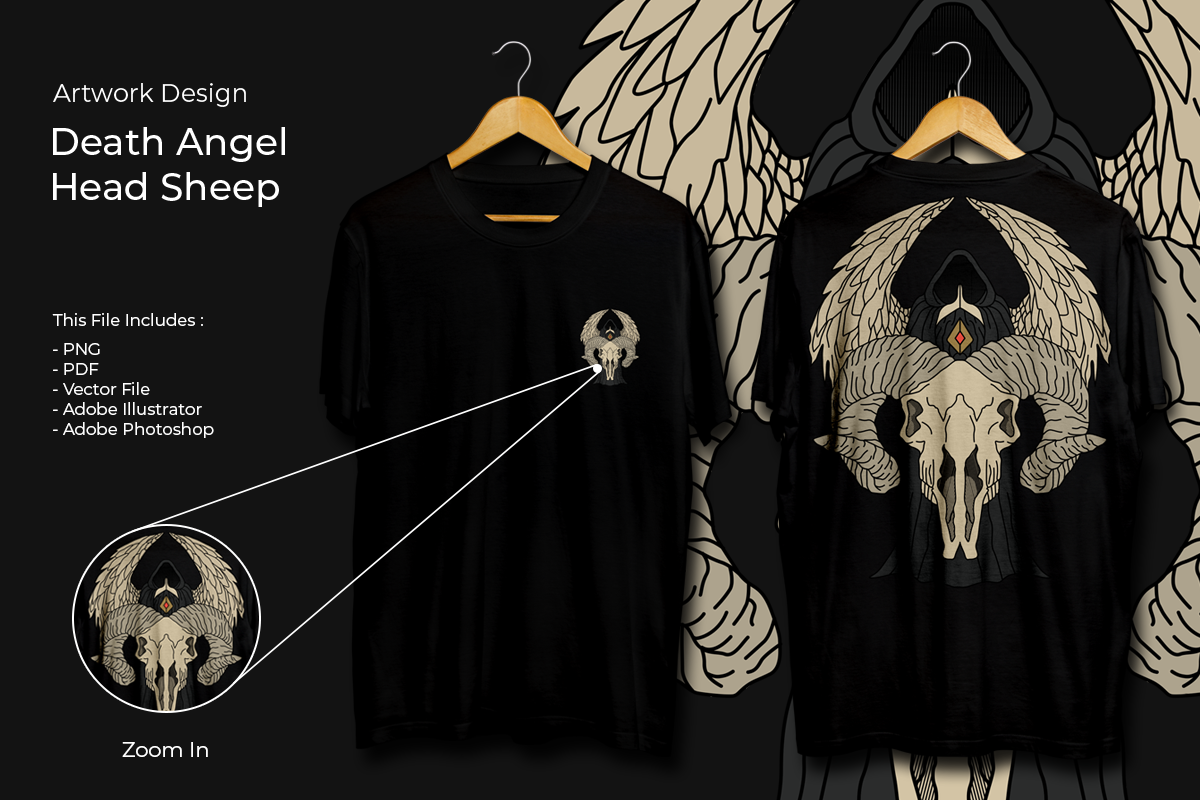 Download Free T Shirt Design Artwork Death Angel Graphic By Fadilahridwan69 for Cricut Explore, Silhouette and other cutting machines.
