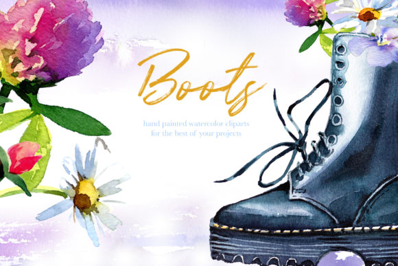 Watercolor Boots Clipart Set Graphic Illustrations By artcreationsdesign