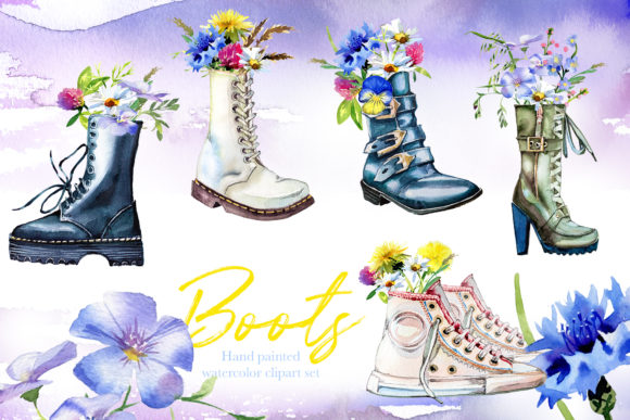 Watercolor Boots Clipart Set Graphic Illustrations By artcreationsdesign - Image 2