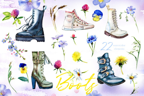Watercolor Boots Clipart Set Graphic Illustrations By artcreationsdesign - Image 4