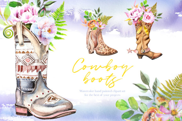 Watercolor Cowboy Boots Clipart Set Graphic Illustrations By artcreationsdesign - Image 1