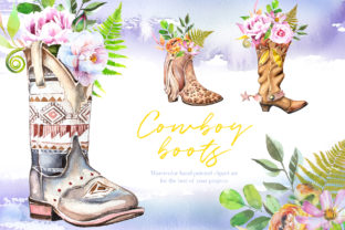 Watercolor Cowboy Boots Clipart Set Graphic Illustrations By artcreationsdesign