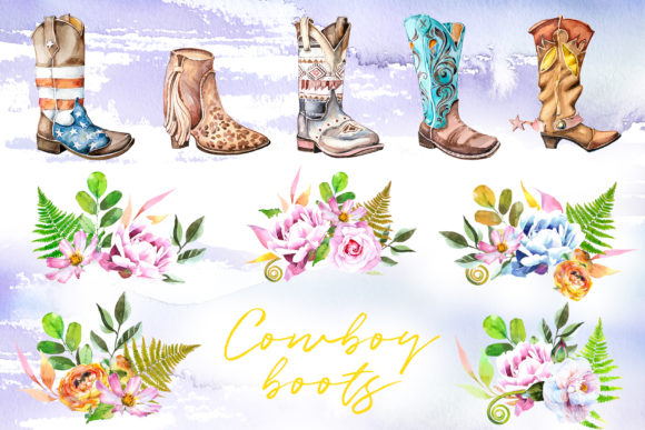 Watercolor Cowboy Boots Clipart Set Graphic Illustrations By artcreationsdesign - Image 2