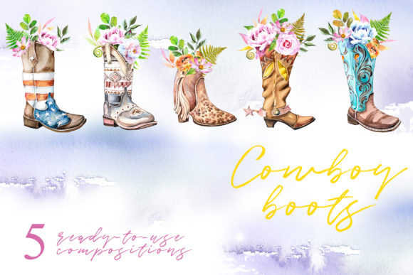 Watercolor Cowboy Boots Clipart Set Graphic Illustrations By artcreationsdesign - Image 3