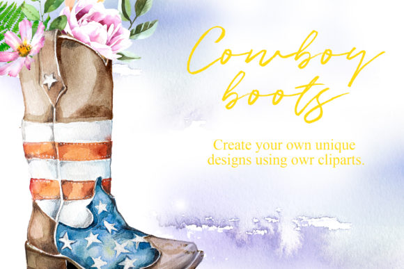 Watercolor Cowboy Boots Clipart Set Graphic Illustrations By artcreationsdesign - Image 4