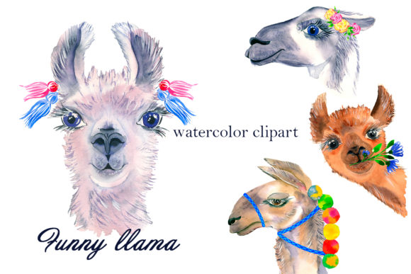 Print on Demand: Watercolor Lama Clipart Graphic Illustrations By ElenaZlataArt