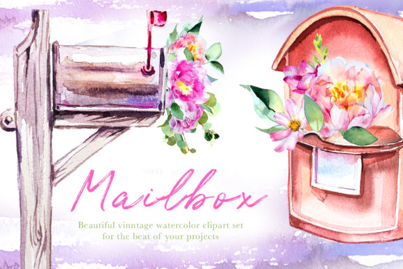 Watercolor Mailbox Clipart Set Graphic Illustrations By artcreationsdesign