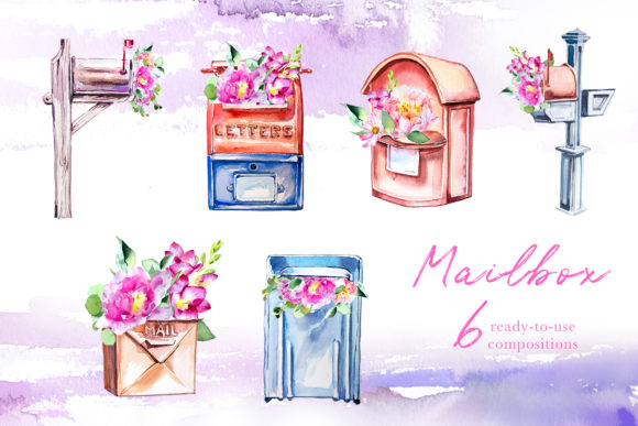 Download Free Watercolor Mailbox Clipart Set Graphic By Artcreationsdesign for Cricut Explore, Silhouette and other cutting machines.
