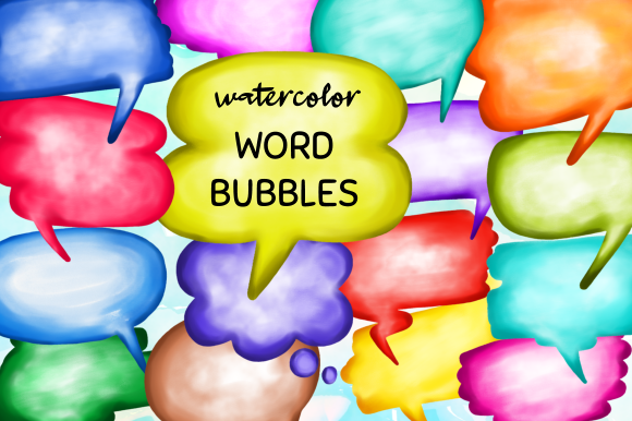 Print on Demand: Watercolor Word Bubbles Callout Clipart Grafik Plotterdateien von Prawny