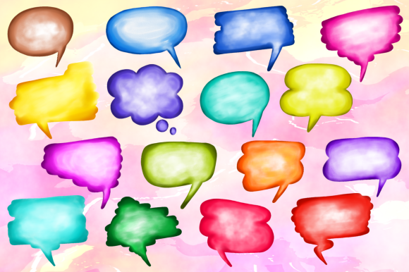 Print on Demand: Watercolor Word Bubbles Callout Clipart Graphic Crafts By Prawny - Image 2