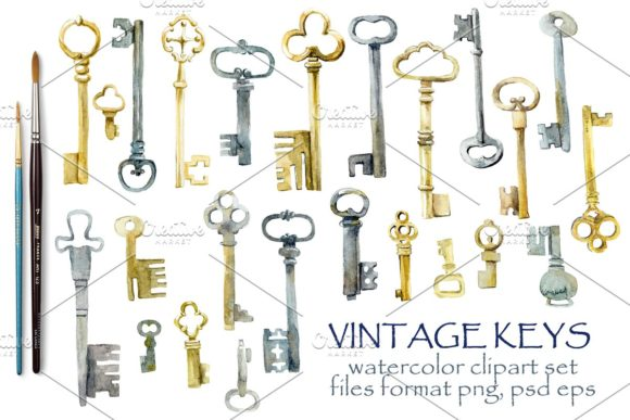 Watercolor Vintage Keys Graphic Illustrations By Мария Кутузова