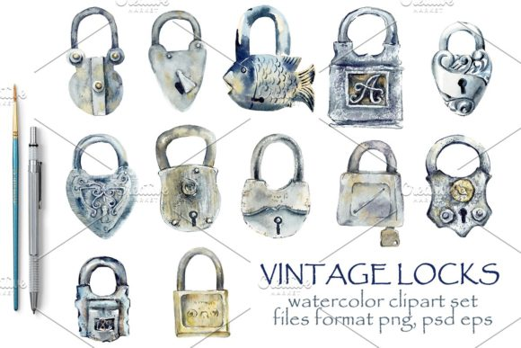 Watercolor Vintage Locks Gráfico Ilustraciones Por Мария Кутузова