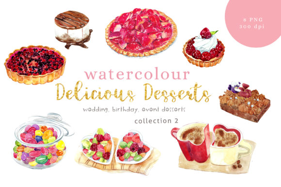 Print on Demand: Watercolour Desserts Illustration 2 Graphic Illustrations By Primafox Design