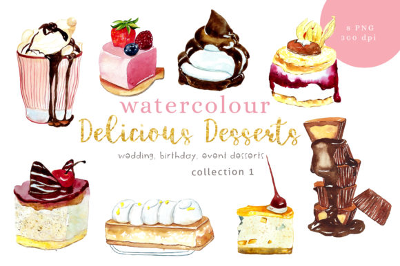 Print on Demand: Watercolour Desserts Illustration Graphic Illustrations By Primafox Design