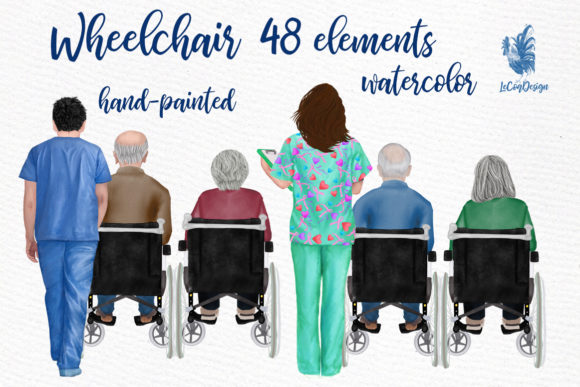 Wheelchair Clipart Grandpatents Clipart Graphic Illustrations By LeCoqDesign - Image 1